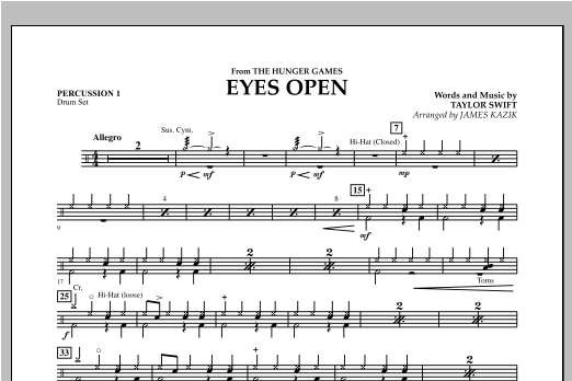 Eyes Open (from The Hunger Games) - Percussion 1 Sheet Music