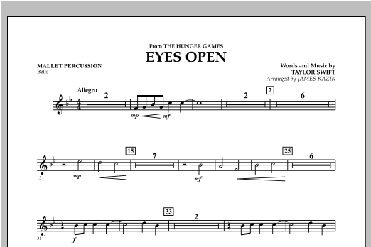 Eyes Open (from The Hunger Games) - Mallet Percussion Sheet Music