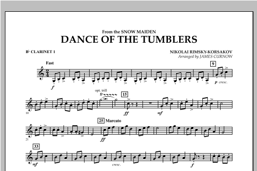 Dance Of The Tumblers (from The Snow Maiden) - Bb Clarinet 1 Sheet Music
