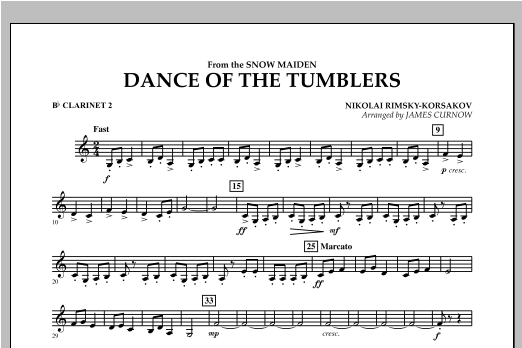 Dance Of The Tumblers (from The Snow Maiden) - Bb Clarinet 2 Sheet Music