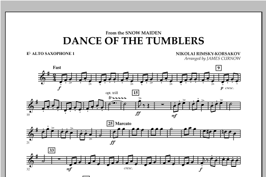 Dance Of The Tumblers (from The Snow Maiden) - Eb Alto Saxophone 1 Sheet Music