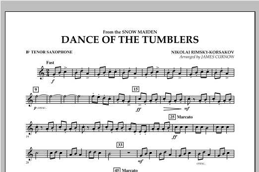 Dance Of The Tumblers (from The Snow Maiden) - Bb Tenor Saxophone Sheet Music