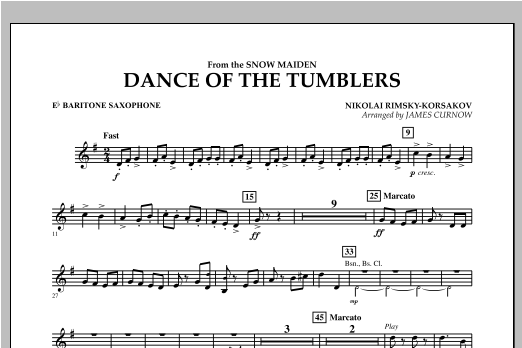 Dance Of The Tumblers (from The Snow Maiden) - Eb Baritone Saxophone Sheet Music