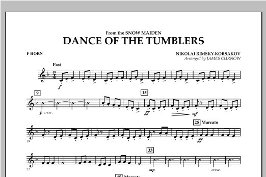 Dance Of The Tumblers (from The Snow Maiden) - F Horn Sheet Music