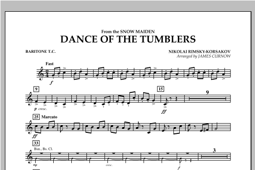 Dance Of The Tumblers (from The Snow Maiden) - Baritone T.C. Sheet Music