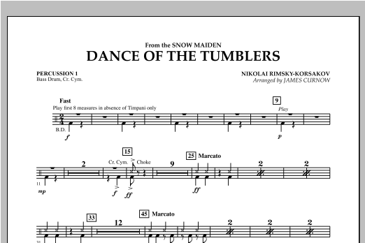 Dance Of The Tumblers (from The Snow Maiden) - Percussion 1 Sheet Music