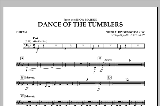 Dance Of The Tumblers (from The Snow Maiden) - Timpani Sheet Music