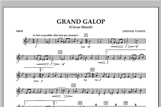 Grand Galop (Circus March) - Oboe Sheet Music