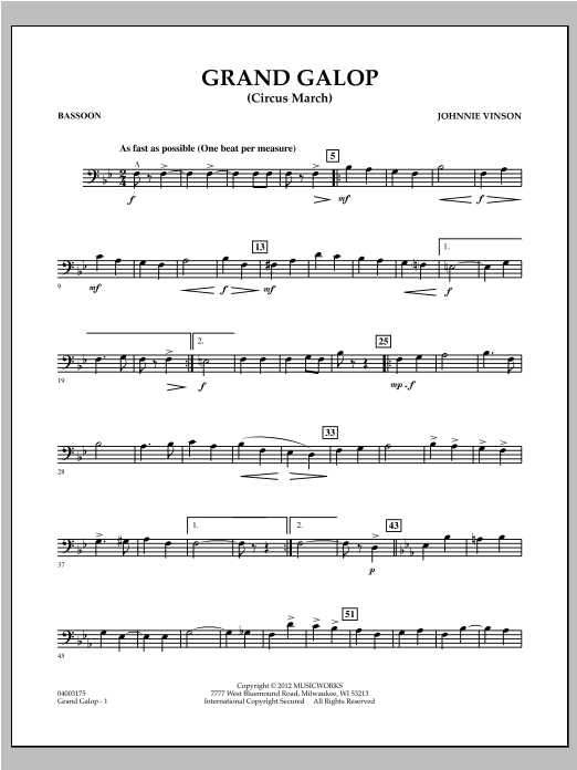 Grand Galop (Circus March) - Bassoon Sheet Music
