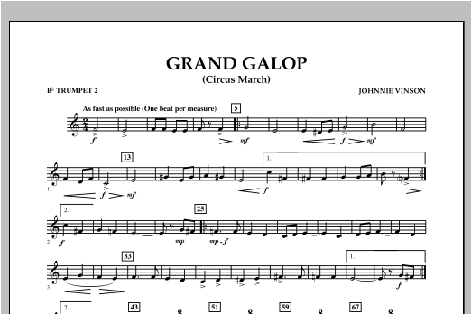 Grand Galop (Circus March) - Bb Trumpet 2 Sheet Music