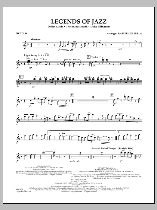 Legends Of Jazz - Piccolo Sheet Music