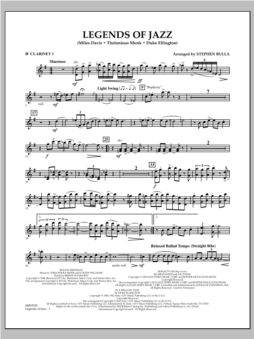 Legends Of Jazz - Bb Clarinet 1 Sheet Music