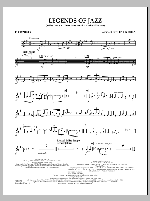 Legends Of Jazz - Bb Trumpet 2 Sheet Music