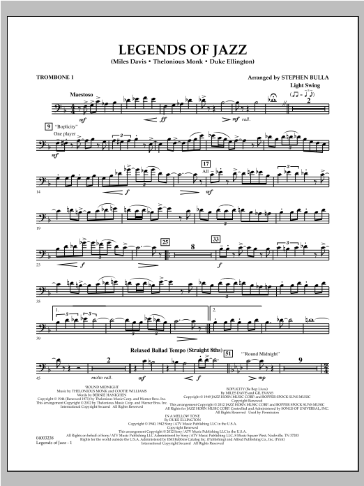 Legends Of Jazz - Trombone 1 Sheet Music