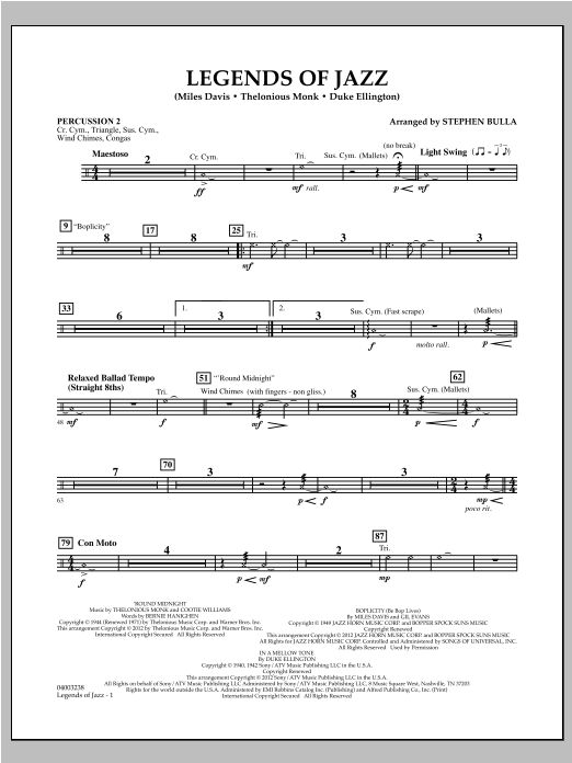 Legends Of Jazz - Percussion 2 Sheet Music