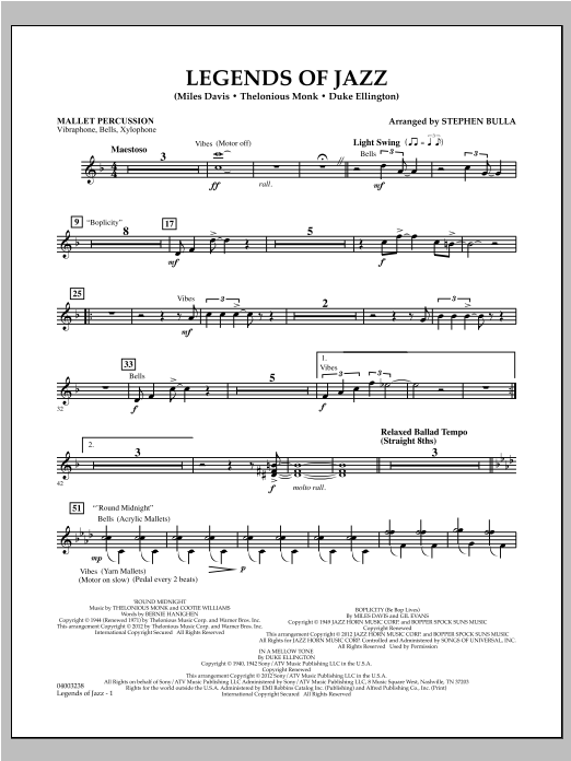 Legends Of Jazz - Mallet Percussion Sheet Music