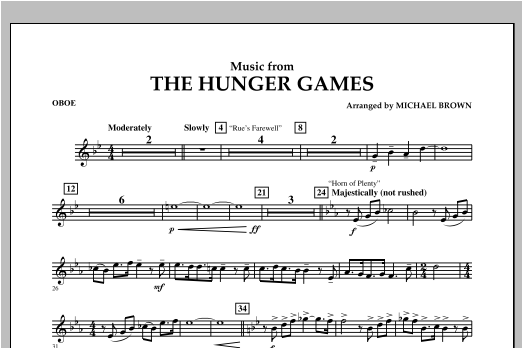 """Music from """"The Hunger Games"""" - Oboe Sheet Music"""