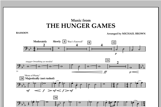 "Music from ""The Hunger Games"" - Bassoon Sheet Music"