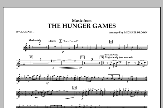 """Music from """"The Hunger Games"""" - Bb Clarinet 1 Sheet Music"""