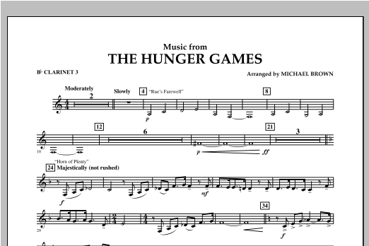 "Music from ""The Hunger Games"" - Bb Clarinet 3 Sheet Music"