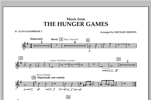 """Music from """"The Hunger Games"""" - Eb Alto Saxophone 1 Sheet Music"""