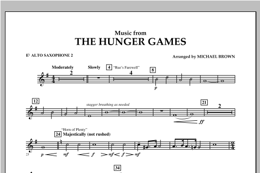 """Music from """"The Hunger Games"""" - Eb Alto Saxophone 2 Sheet Music"""