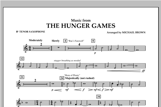 "Music from ""The Hunger Games"" - Bb Tenor Saxophone Sheet Music"