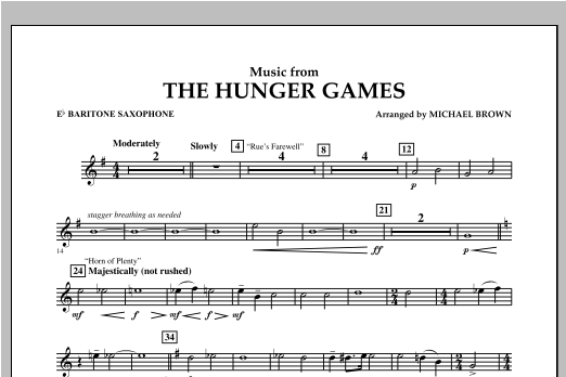 "Music from ""The Hunger Games"" - Eb Baritone Saxophone Sheet Music"