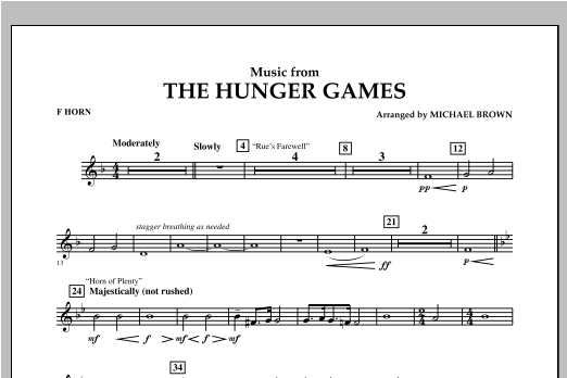 "Music from ""The Hunger Games"" - F Horn Sheet Music"