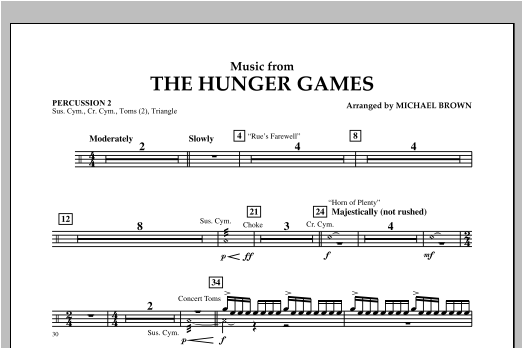 """Music from """"The Hunger Games"""" - Percussion 2 Sheet Music"""