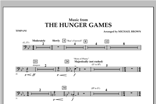 """Music from """"The Hunger Games"""" - Timpani Sheet Music"""