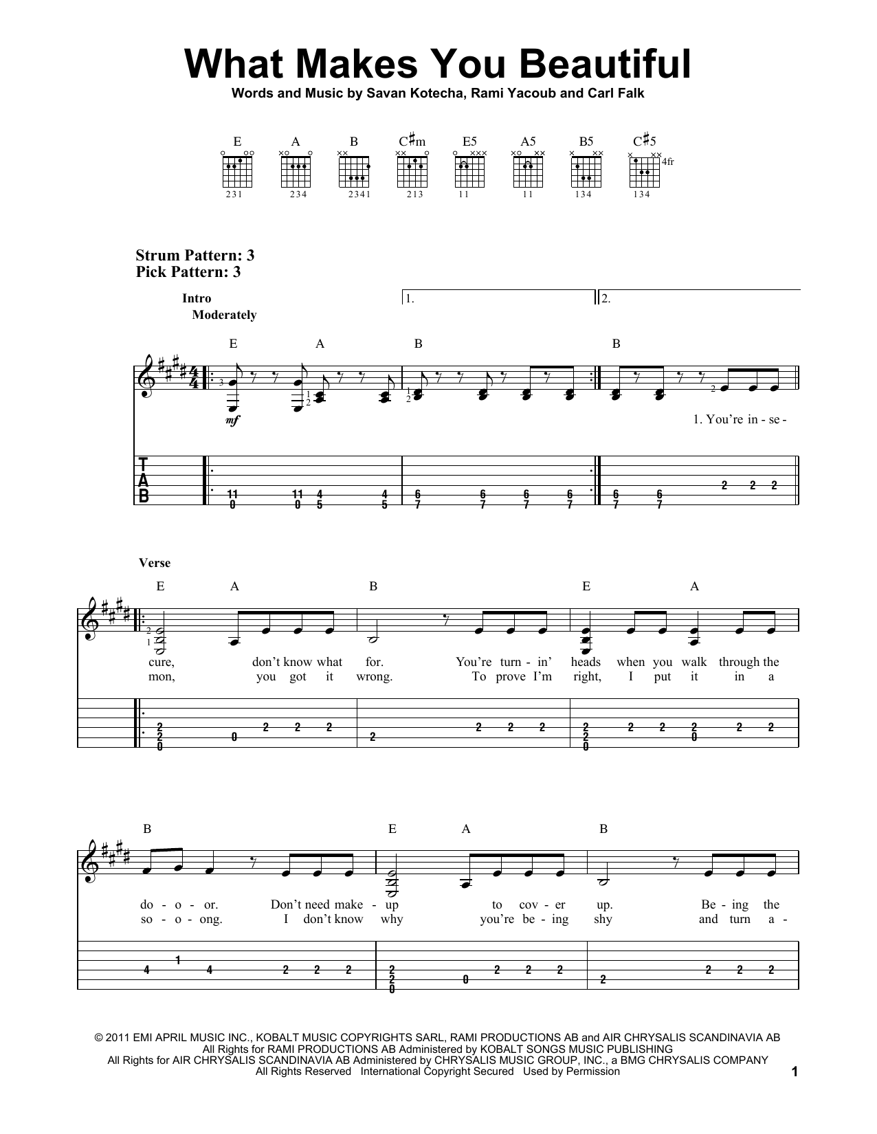 What Makes You Beautiful By One Direction Easy Guitar Tab Guitar