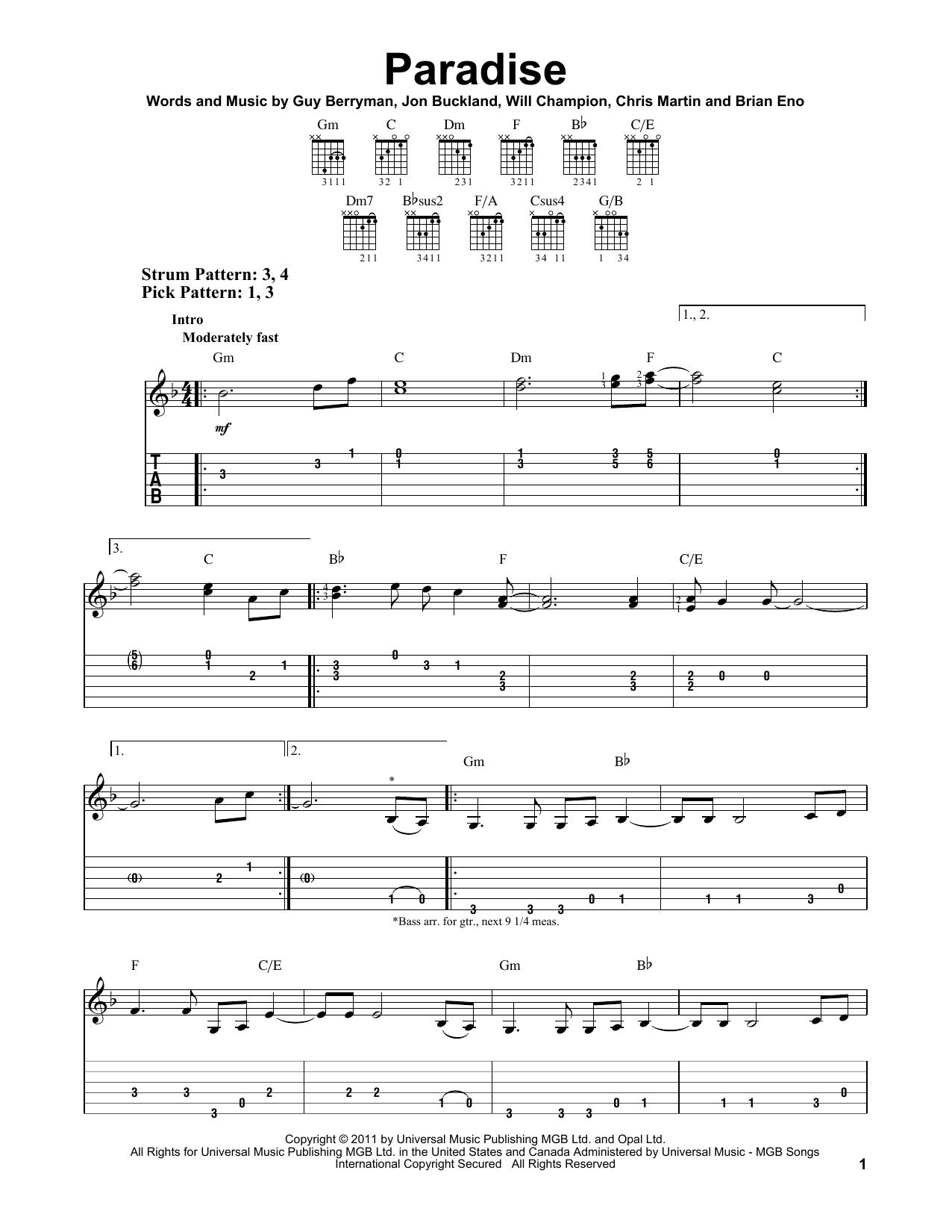 Tablature guitare Paradise de Coldplay - Tablature guitare facile