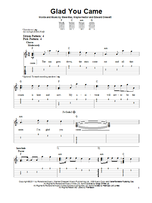 Glad You Came (Easy Guitar Tab)