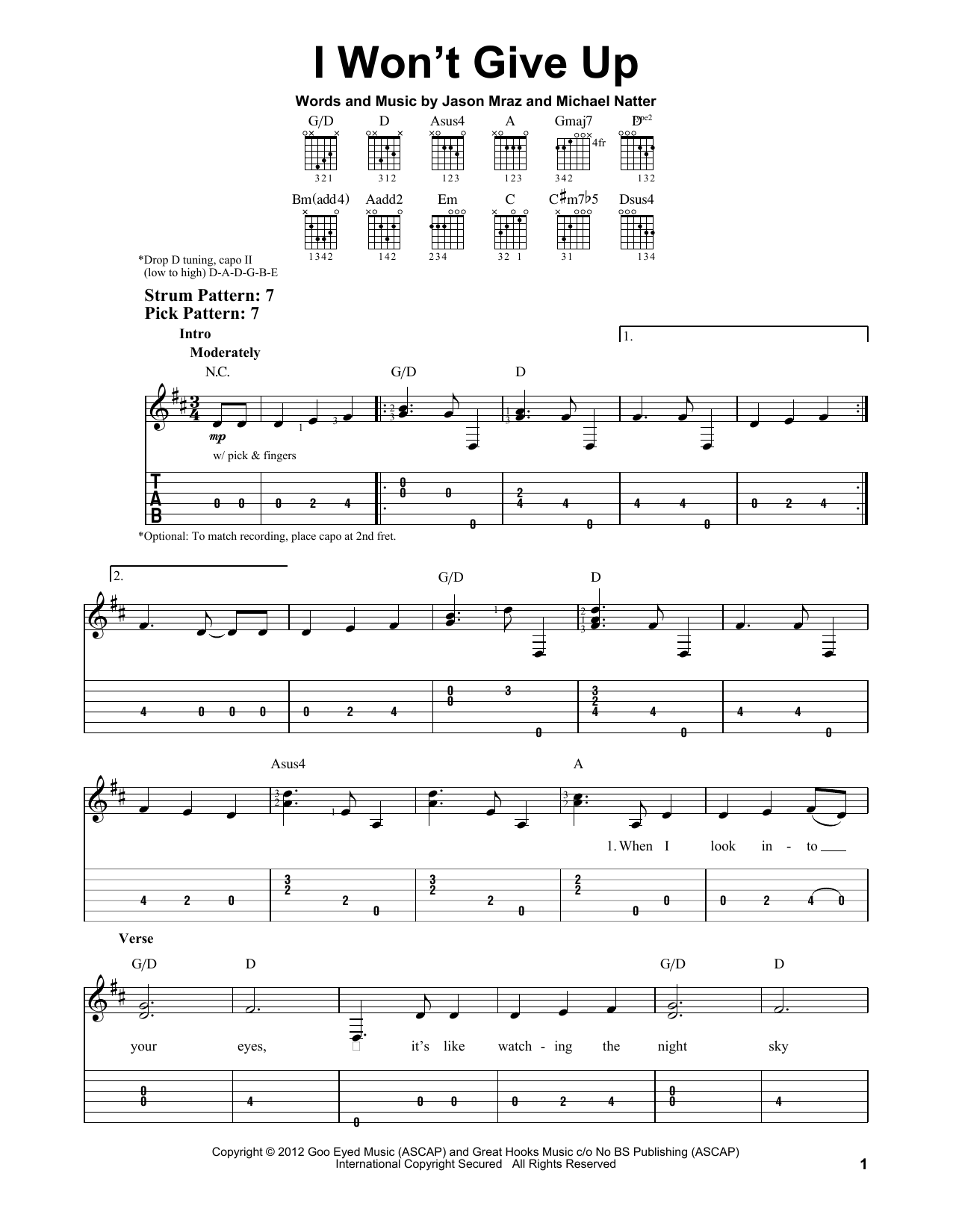 I Won\'t Give Up by Jason Mraz - Easy Guitar Tab - Guitar Instructor