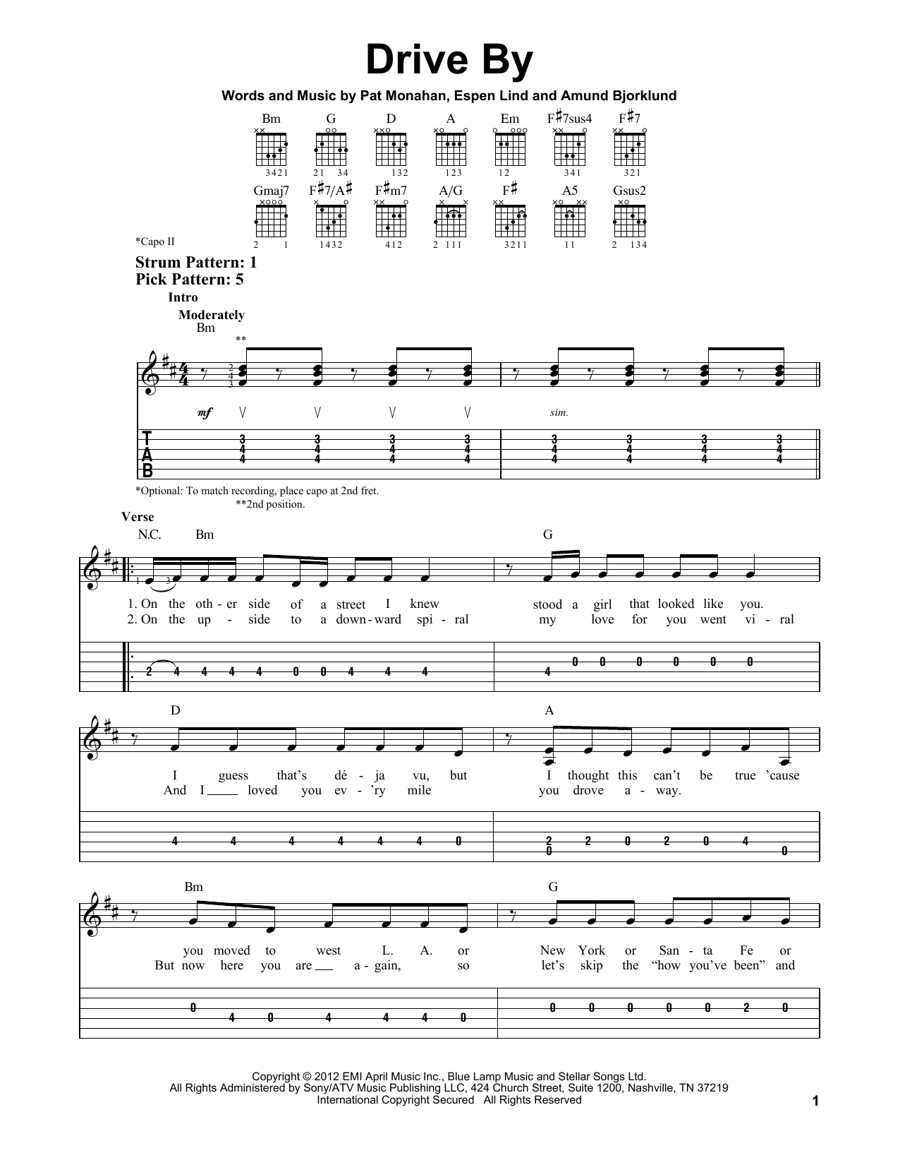 Tablature guitare Drive By de Train - Tablature guitare facile