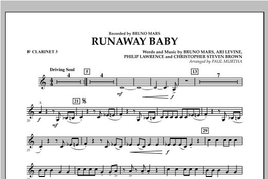 Runaway Baby - Bb Clarinet 3 Sheet Music
