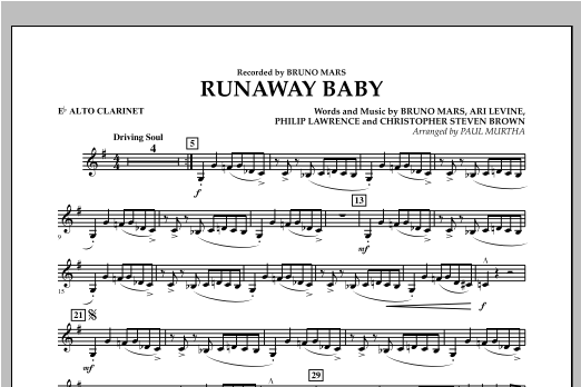 Runaway Baby - Eb Alto Clarinet Sheet Music