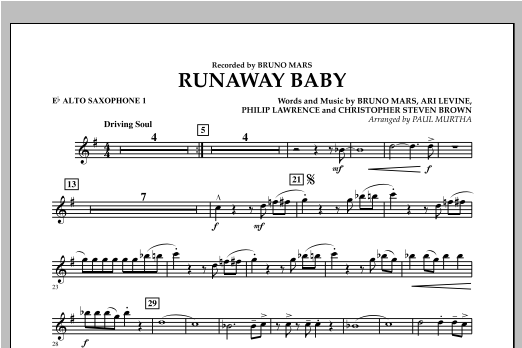 Runaway Baby - Eb Alto Saxophone 1 Sheet Music