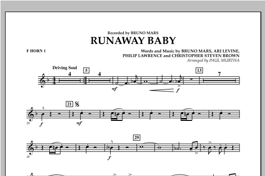 Runaway Baby - F Horn 1 (Concert Band)