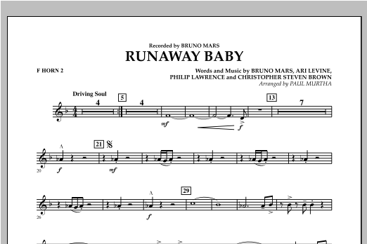 Runaway Baby - F Horn 2 (Concert Band)