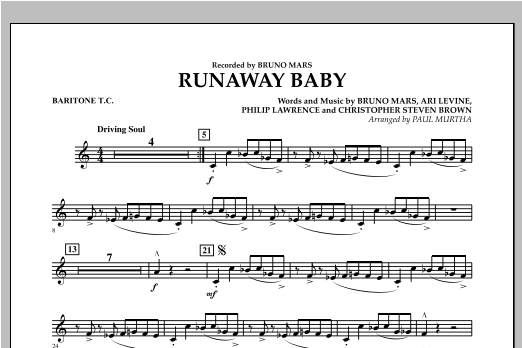 Runaway Baby - Baritone T.C. (Concert Band)