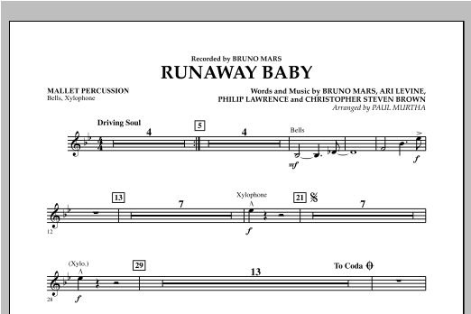 Runaway Baby - Mallet Percussion Sheet Music