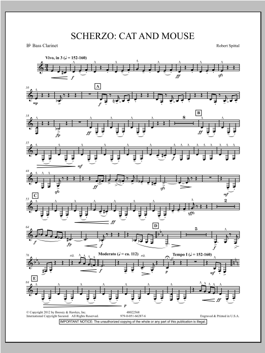 Scherzo: Cat And Mouse - Bb Bass Clarinet Sheet Music