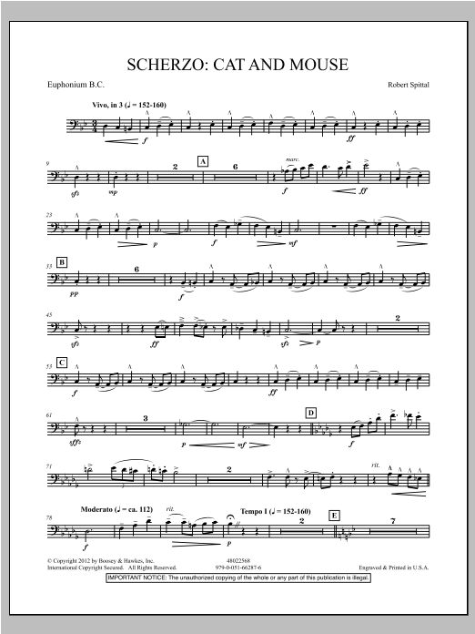 Scherzo: Cat And Mouse - Euphonium in Bass Clef Sheet Music