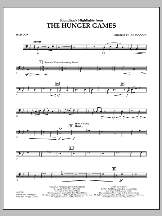 The Hunger Games (Soundtrack Highlights) - Bassoon Sheet Music