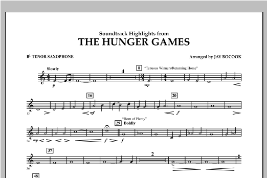 The Hunger Games (Soundtrack Highlights) - Bb Tenor Saxophone Sheet Music