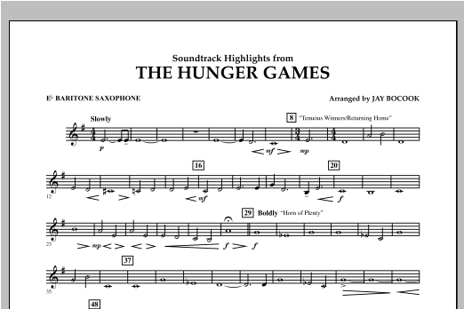 The Hunger Games (Soundtrack Highlights) - Eb Baritone Saxophone Sheet Music