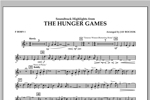 The Hunger Games (Soundtrack Highlights) - F Horn 1 Sheet Music