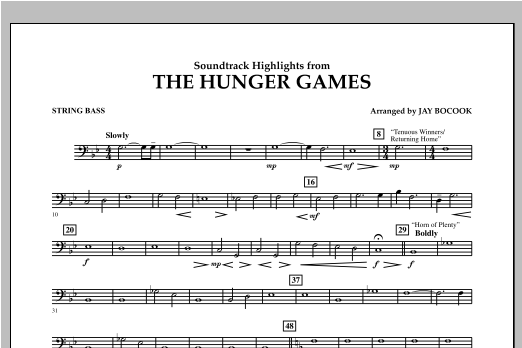 The Hunger Games (Soundtrack Highlights) - String Bass Sheet Music